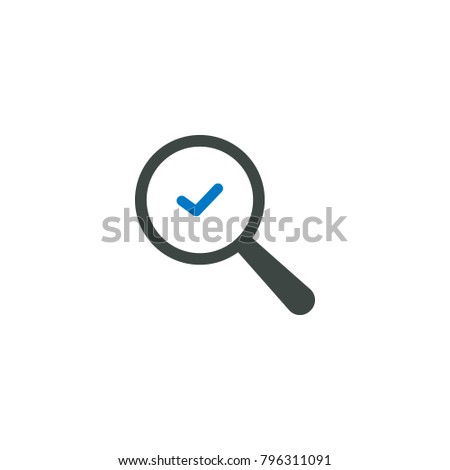 Magnifying glass icon, check icon vector sign