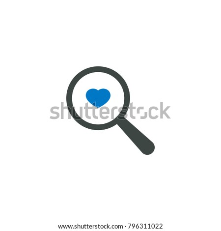 Magnifying glass icon, heart love icon vector sign