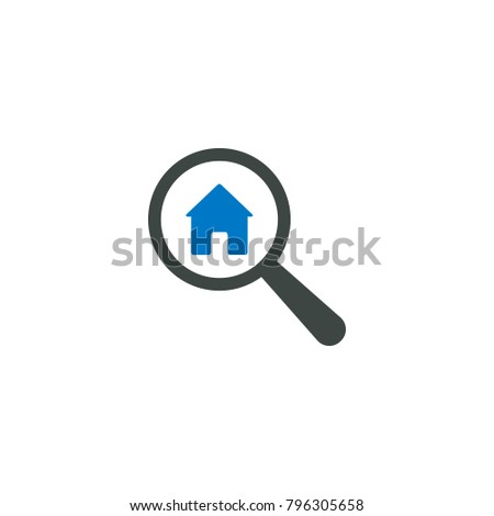 Magnifying glass icon, Home house icon vector sign