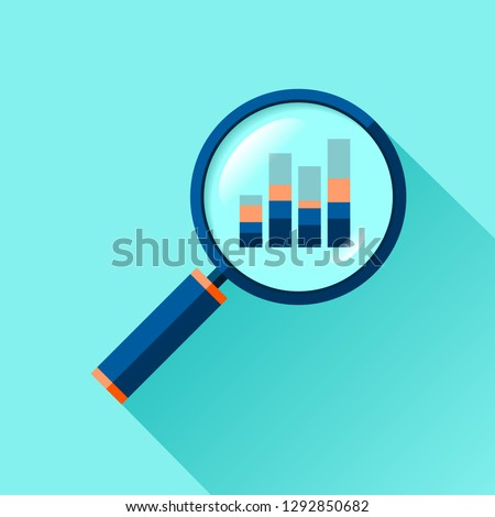 Magnifying glass icon in flat style. Search loupe on color background. Business analytic illustration. Vector design object for you project