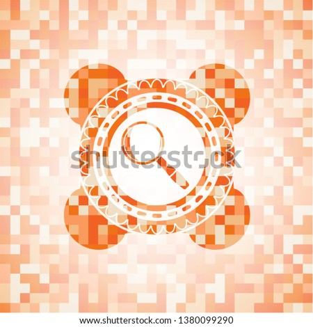 magnifying glass icon inside orange tile background illustration. Square geometric mosaic seamless pattern with emblem inside.