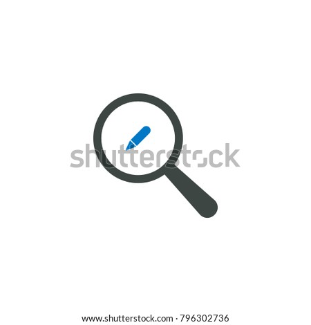 Magnifying glass icon, pencil icon vector sign