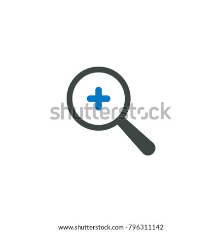 Magnifying glass icon, plus add icon vector sign