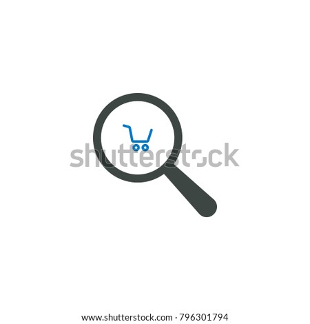 Magnifying glass icon, shopping cart icon vector sign