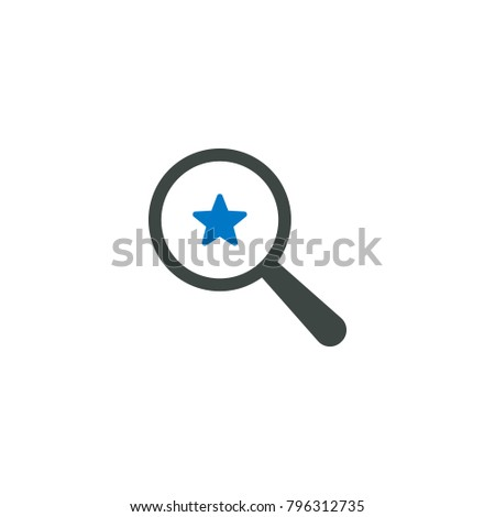 Magnifying glass icon, star icon vector sign
