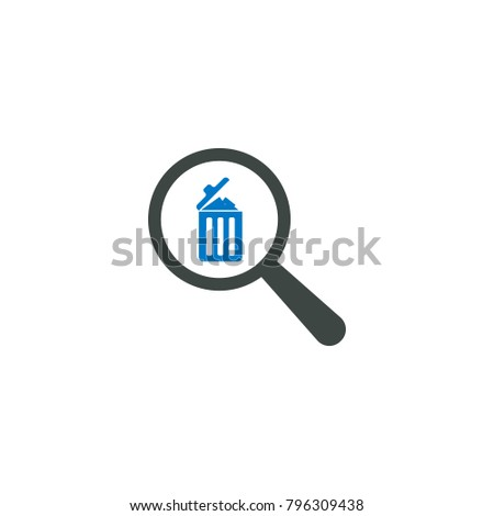 Magnifying glass icon, trash bin icon vector sign