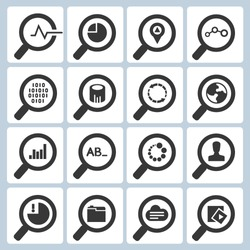 magnifying glass icons set