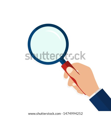 Magnifying glass in hand in flat style.Icon of hand holding a magnifying glass on isolated background.Flat lens or loupe. vector illustration Photo stock ©