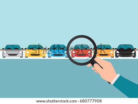 Magnifying glass in human hand with car, conceptual of choice flat style vector illustration.