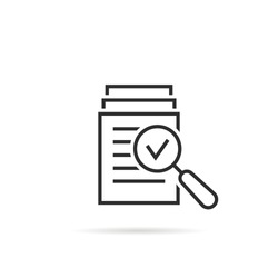 magnifying glass like check assess. scrutiny plan, verify service critique process and annual examination concept. flat style logotype graphic design quality sign or success proven on white background