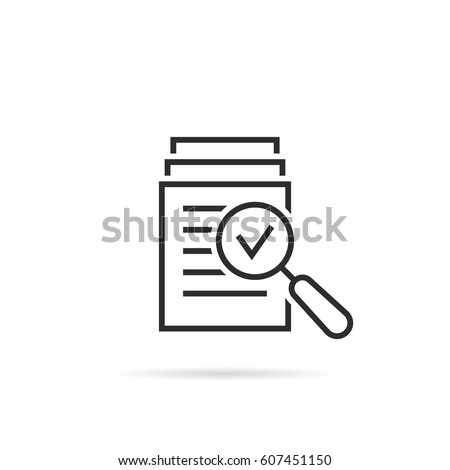 magnifying glass like check assess. scrutiny plan, verify service critique process and annual examination concept. flat style logotype graphic design quality sign or success proven on white background #607451150