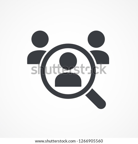 Magnifying glass looking for people icon, employee search symbol concept, headhunting, staff selection, vector illustration. Job search icon.