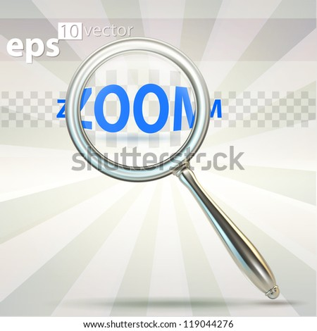 Magnifying glass made of glossy chrome metal, high quality eps10 vector clipart emblem icon