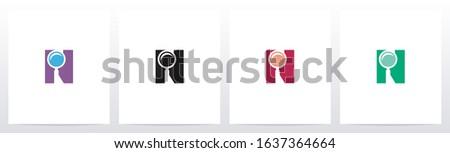 Magnifying Glass On Letter Logo Design N Foto stock ©