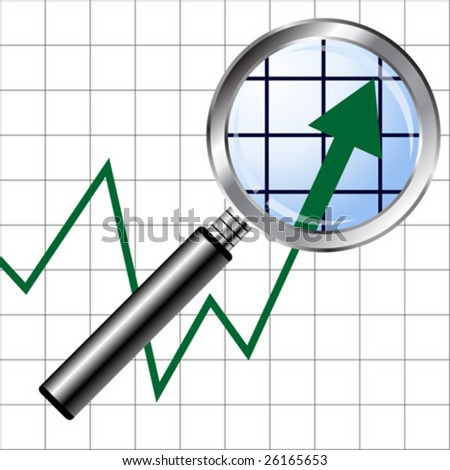 Magnifying glass over uprising graphic chart background