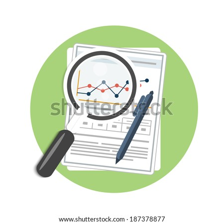 magnifying glass  pen and chart