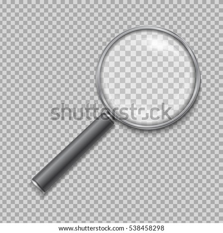 Magnifying glass realistic isolated on checkered background, vector illustration
