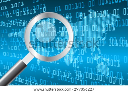 Magnifying Glass scanning and identifying a computer virus. Antivirus protection and computer security concept. PC. vector one zero. scan. technology digital website internet web .World map