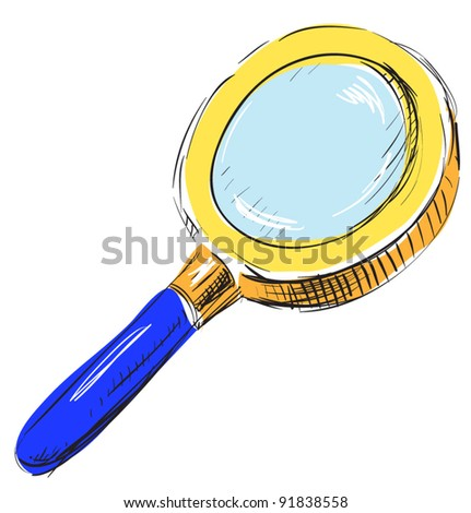 magnifying glass search find color icon sketch