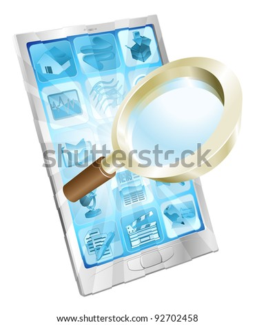 Magnifying glass search icon coming out of phone screen concept