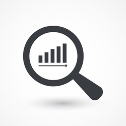 Magnifying glass showing rising chart bar graph, vector eps10 illustration. Stock graph icon, business report paper, sales data search, arrow vector