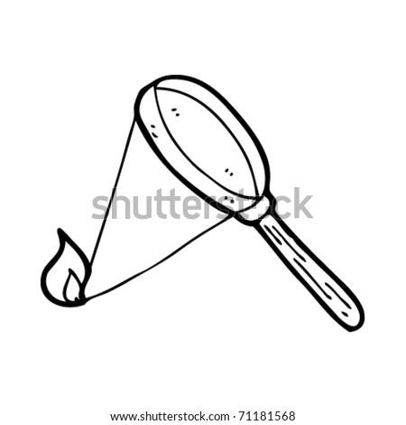 magnifying glass starting fire cartoon