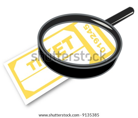 magnifying glass with admission or prize tickets - vector