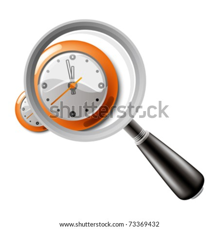 magnifying glass with clock