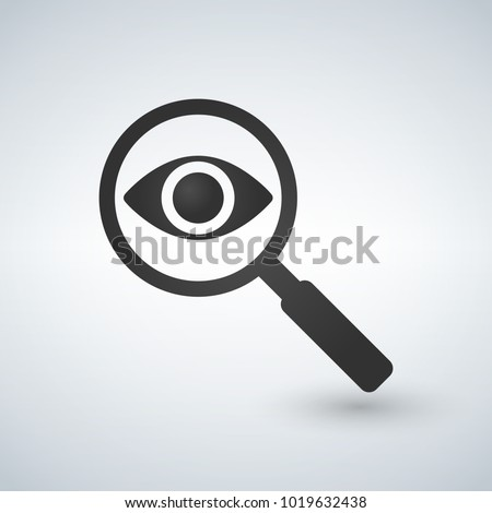 Magnifying glass with eye vector icon, isolated on white background. Foto stock ©