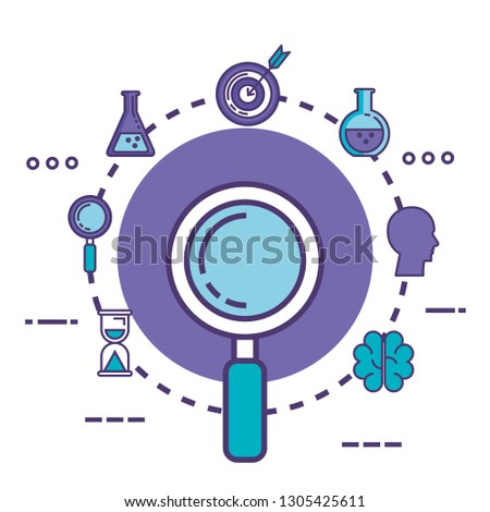 magnifying glass with innovation icons