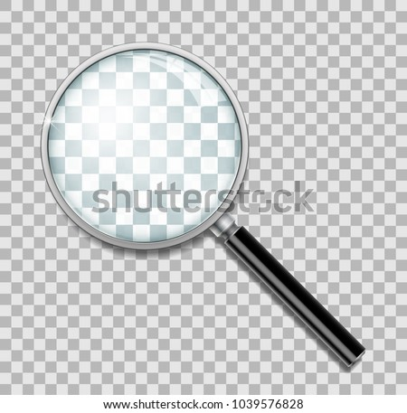 Magnifying glass with steel frame isolated. Realistic Magnifying glass lens for zoom on transparent background. 3d magnifier loupe vector illustration