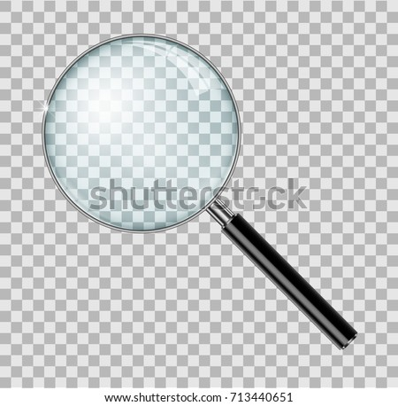 Magnifying glass with steel frame isolated. Realistic Magnifying lens for zoom on checkered background. vector illustration EPS 10