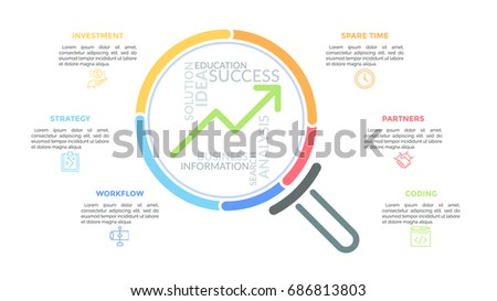 Magnifying glass with upward graph and word cloud inside surrounded by thin line icons and text boxes. Concept of growth and development. Unique infographic design template. Vector illustration.