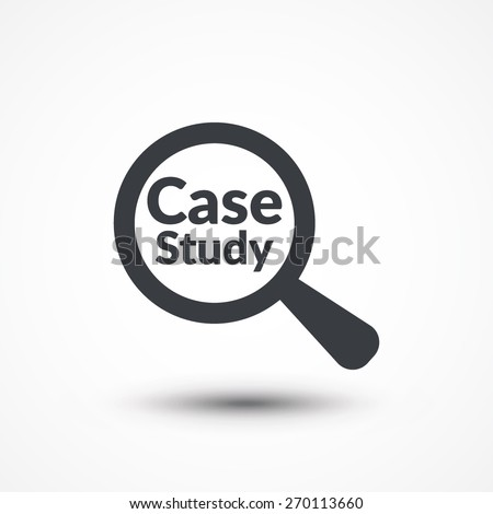 Magnifying glass with words case study on white background
