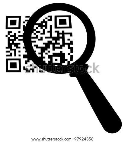 Magnifying Glass Zooming In On A QR Code