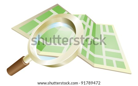 Magnifying glass zooming on map search concept illustration