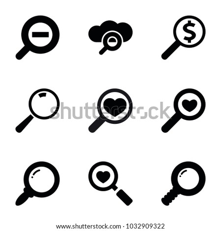magnifying icons set of 9