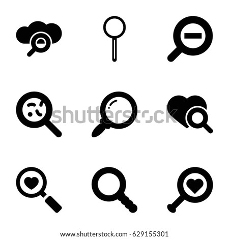 magnifying icons set set of 9