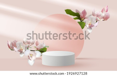 Magnolia branches vernal flower tree blossom and 3d pink scene rendering with podium. Minimal pink Mother's Day scene platform, stage scene for cosmetic product show. International Women's day card.