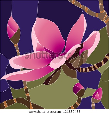 magnolia flower   stained glass