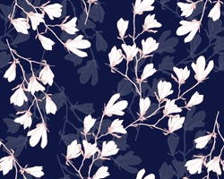 Magnolia flower vector illustration. Seamless pattern with white flowers on a navy blue background.