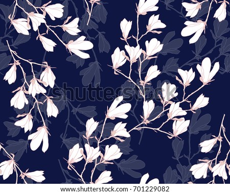 magnolia flower vector...