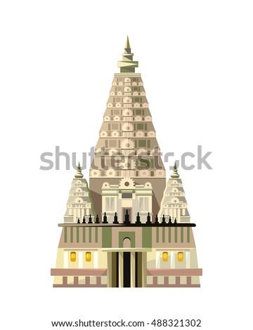 mahabodhi temple icon isolated