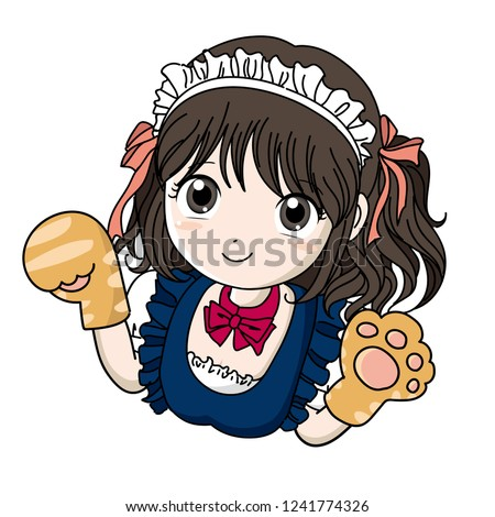 maid cafe girl with cat's hand