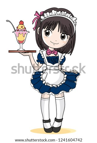 maid cafe girl with parfait