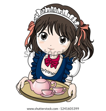 maid cafe girl with teapot