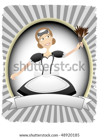Maid in Oval Ad Blank Banner Setting