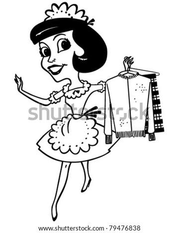 Maid With Clean Clothes - Retro Clipart Illustration