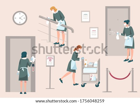 Maid with mask and gloves wash door handle, hand railing, en elevator button and walks Cleaning Trolley in hotel. Prevention measures during coronavirus COVID 19 in hotel.New Normal.Vector