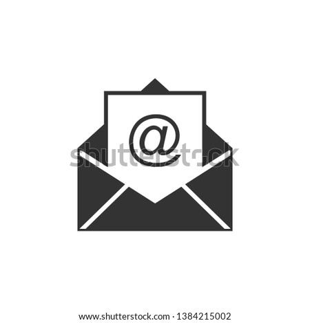 Mail and e-mail icon isolated. Envelope symbol e-mail. Email message sign. Flat design. Vector Illustration
